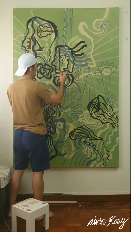 """Third Hyperlapse Video of a 3-Part Serie of me Painting """"The Hypocrites"""", 2021. Part 3 of 3"""
